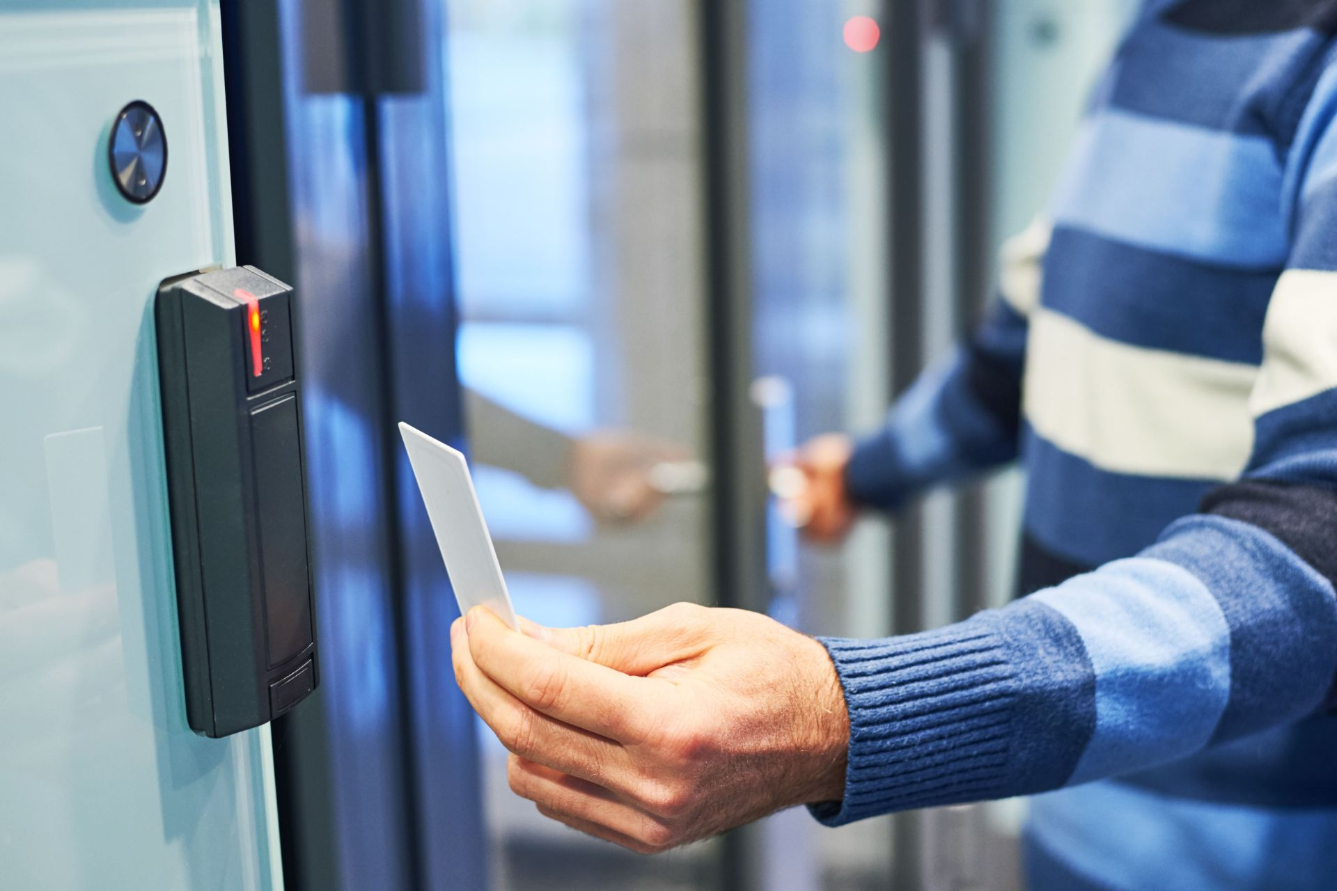 employee using access control card