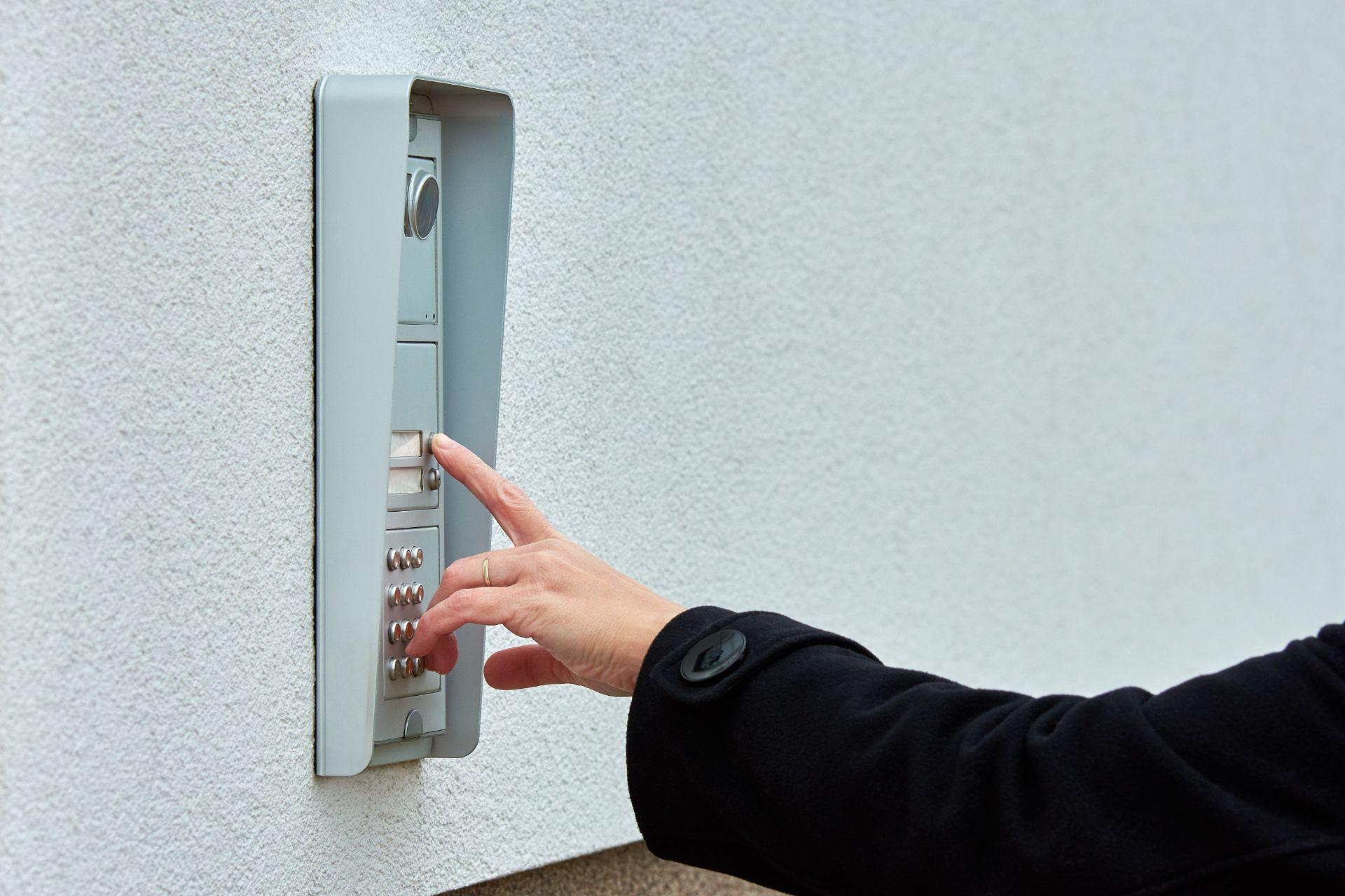 employee using intercom system