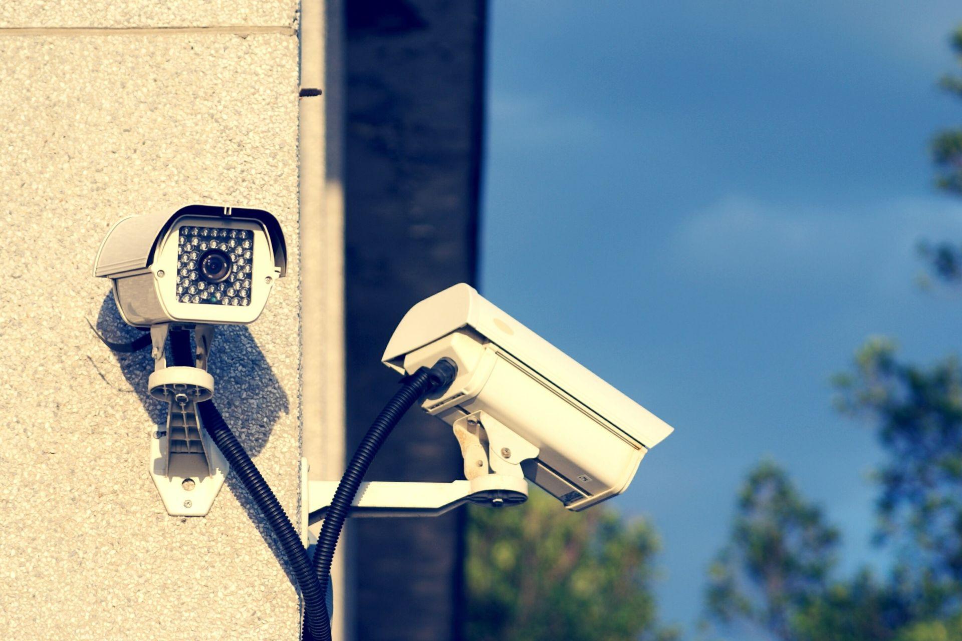 cctv surveillance cameras installed on a business